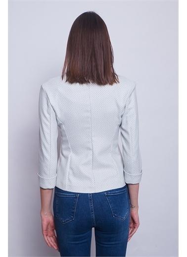 Jument Yazlık Keten Dokuma Capri Kol Tek Düğme Kadın Ofis Şık Ceket -A.Mavi Bej